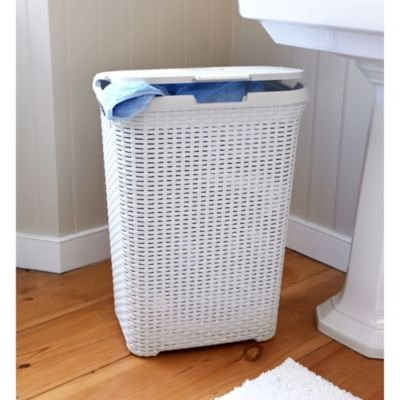 Curver Faux Rattan White Laundry & Washing Basket 60 Litres
