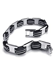 Konov Jewellery Men's Stainless Steel Rubber Bracelet, Colour Silver Black, Length 8 1/4 inch (with Gift Bag)