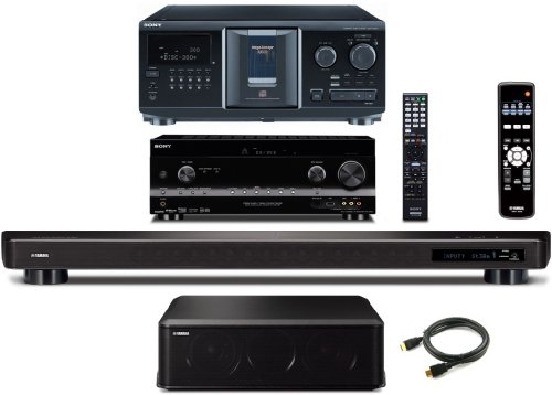 Sony Hd Digital Cinematic Sound 735 Watts 7.1 Channel 3D A/V Receiver With Iphone & Ipod Playback + Sony 300 Disc Mega Changer Cd Player + Yamaha Cinema Dsp Ysp-2200 Intellibeam 7.1 Hd Digital Audio True Surround Sound Projector Low Profile 16-Speaker Sou