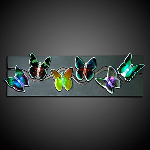 Assorted Butterfly Decorations With Color Changing Led (Set Of 6)