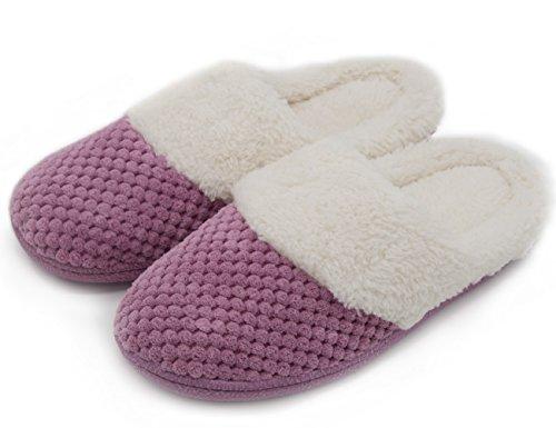 UltraIdeas Women's Soft Gridding Coral Velvet Short Plush Lining Slip-on Memory Foam Clog Indoor Slippers (Large / 9-10 B(M), Purple)
