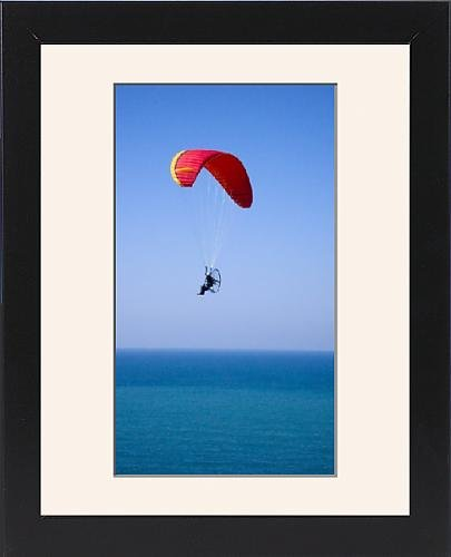 Framed Print of Powered paraglider flying above the Black Sea in Istanbul, aerial, view, Turkey