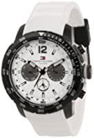 Buy Tommy Hilfiger Mens 1790890 Sport Black Ion-Plated Bezel Multi-Eye White Silicon Strap Watch by Tommy Hilfiger
