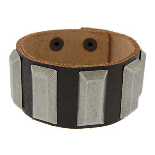 Genuine Leather Studded Chocolate Brown Vintage Biker Bracelet