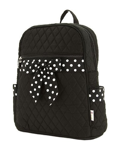 Medium Quilted Backpack Purse - Black & White (11x13)