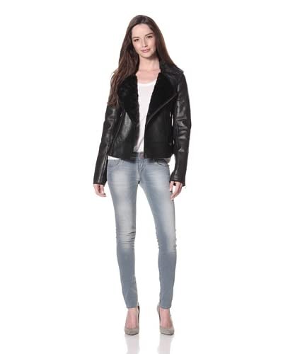 Cote by IMPROVD Women's Lou Leather Motorcycle Jacket  - Black
