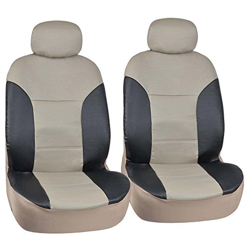 Motor Trend Black/Beige Two Tone PU Leather Car Seat Covers - Classic Accent - Premium Leatherette - Front Pair (Mazda 3 Leather Seat Covers compare prices)