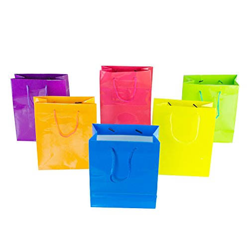 Find Cheap Neon Colored Blank Paper Party Gift Bags Rainbow Assortment with String Handles for Birth...