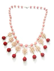 Beauty Wear's Transparent And Lt.pink Pearl Beads And Redcolour Ceramic Beads Royal Look Necklace