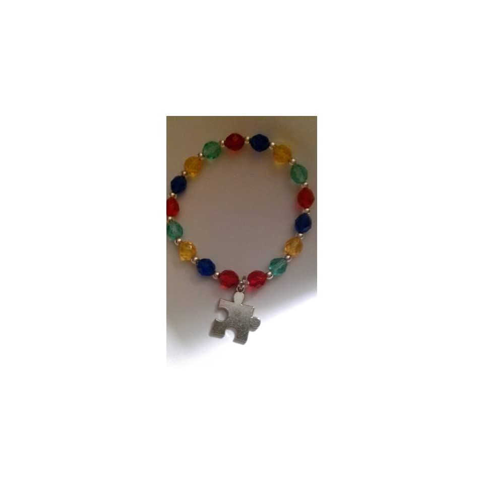 Autism Awareness Bracelet   Glass Beads   Puzzle Piece