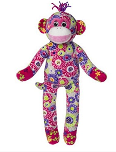 "Mary Meyer Print Pizzazz 17"" Plush Sock Monkey, White Floral"