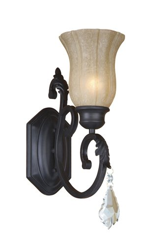 """Yosemite Home Decor 83191-1Ss Jessica One Light Wall Sconce With Egyptian Crystals And Brown Cyan Glass In Sierra Slate Finish, 5.5"""" X 13.75"""" front-576911"""
