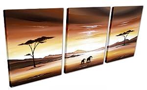 African Landscape Original Canvas Large 4ft - 3 Set Painting Wall Art Elephants - By SCA ART