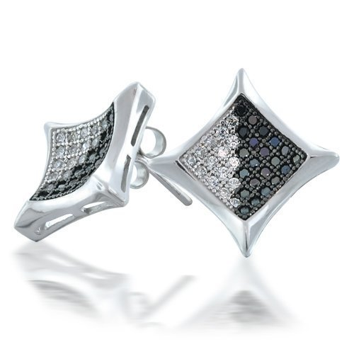 Bling Jewelry Black White CZ Micro Pave Kite Mens Stud Earrings 10mm