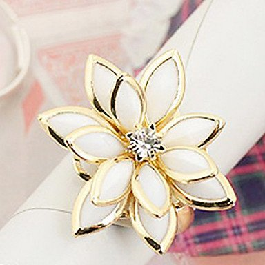 Get Emaille-Legierung plump Neuschnee Lotus Blume Ring (gelegentliche Farbe)