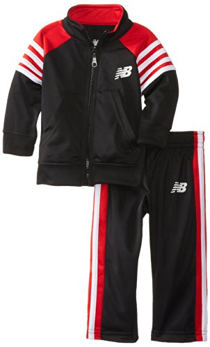 New Balance Baby-Boys Infant 2 Piece Brushed Tricot Jacket And Pant, Black/Red, 18 Months