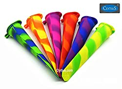 Clytius Coloured Pops Ice Pop Molds-Set of Six Durable, Flexible Popsicle Makers - FUN Mixed Colors - Enjoy Endless Ice Pop By Clytius.com (Pack of 6)
