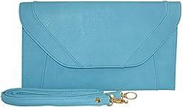 Patzino Fashion Collection, Faux Leather Women\'s Envelope Clutch/ Purse (Flat Blue)