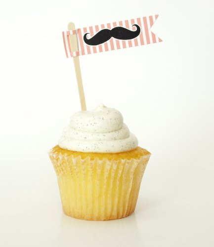 """""""Mustache"""" Hors D'Oeuvre Tag / Cupcake Topper, Pink (Set Of 12) - Party Favors For Bachelors, Grads, And Grooms front-26695"""