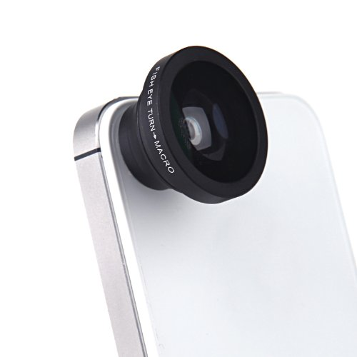 Docooler 180 Degree Fisheye Macro Lens Magnetic Mount For Iphone 5S 5 Galaxy S4 S3 Note 3 Htc 2 In 1 (Black)