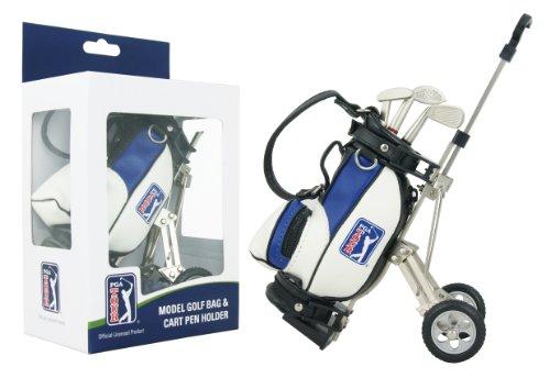 PGA Tour Gadget da Scrivania, Kit Regalo Composto da Penne e Sacca da Golf in Miniatura, Bianco