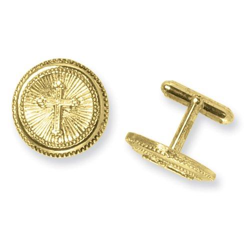 Gold-tone Cross Cuff Links