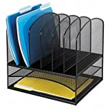 Safco Mesh Desk Organizer with Two Horizontal and Six Upright Sections (3255BL)