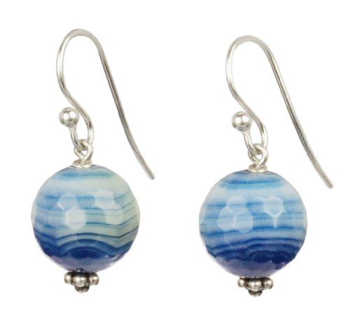 Blue Agate Simple Drop Sterling Silver Earrings