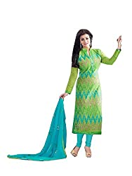 Fashion Forever Women's Green, Blue Color Chanderi Fabric Dress Material