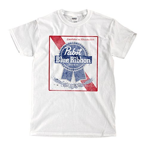 Hot Chrome Mens Pabst Blue Ribbon Mens T-Shirt X-Large White (Tiffany Blue Shirt compare prices)