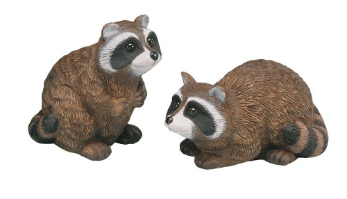 Sculptural Gardens 3616 Raccoon Baby Statuary, Set of 2