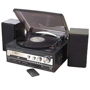 Zennox Retro Deluxe Hi-Fi Music Centre System CD Radio USB 3 Speed Turntable.