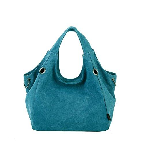 Kingko Borse Donna di tela di canapa dei sacchetti di spalla di alta qualità Shopping Tote di colore della caramella Casual Messenger Bag (Blu)