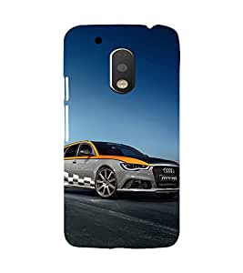 Printvisa Dual Coloured Chequred Flag Audi Back Case Cover for Motorola Moto G4 PLUS