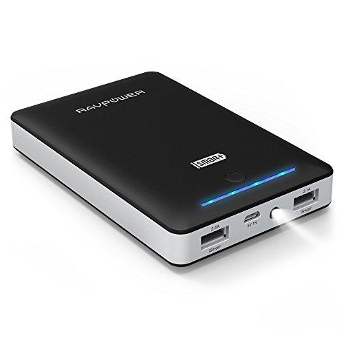 モバイルバッテリー RAVPower 16750mAh 充電器 ( 大容量 急速充電 2ポート LEDライト付 ) iPhone / iPad / Xperia / Android / タブレット / ゲーム機 / Wi-Fiルータ 等対応【iSmart機能搭載】(ブラック)