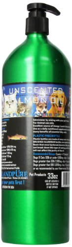 Iceland Pure Unscented Pharmaceutical Grade Salmon Oil For Dogs and Cats.Bottle Size 33 Ounces