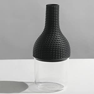 Industreal CHAPEAUX POUR VASE 2 vase in dark grey porcelain and glass by INDUSTREAL