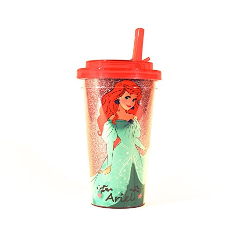 Silver Buffalo DP2484G Disney Ariel Standing Glitter BPA-Free Plastic Flip Straw Cold Cup, 16 oz., Pink