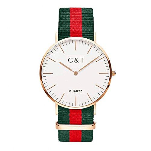 C+T Watch CT-7 orologio da polso in oro Nylon Nato Strap Rosso Verde