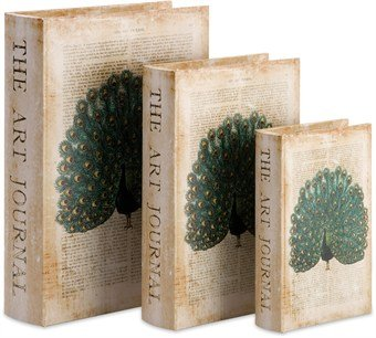 Imax Peacock Book Boxes, Set Of 3