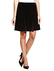 M&S Collection Velour Glitter Skater Mini Skirt
