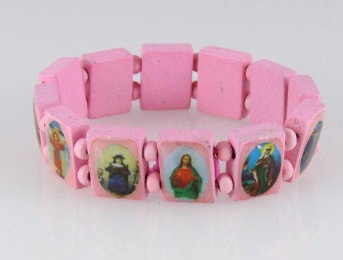 4030465 Wood Holy Saints and Icons Christian Jesus Christ Stretch Bracelet Catholic