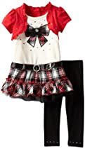Young Hearts Girls 2-6X 2 Piece Plaid Bow Legging Set, Red, 2T