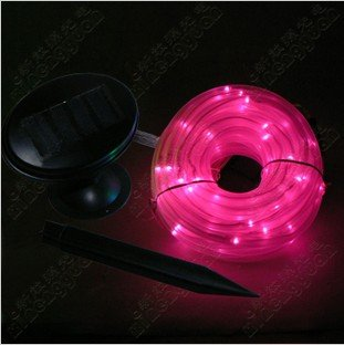 E-3LUE®Solar Power Rope 100leds Light Tube String Ourdoor Garden Fairy Party Waterproof (Pink)