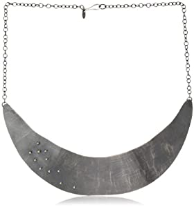 "Melissa Joy Manning ""Mixed Metals"" Gold Ball Detail and Silver Hammered Collar Necklace, 18"""