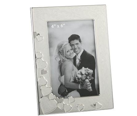 Silver Plated and Enamelled Hearts Photograph Frame takes 6 x 4 Photo - ideal Wedding or Engagement Gift (7546)