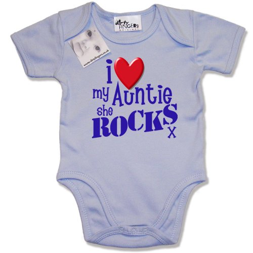 Dirty Fingers - I Love my AUNTIE she Rocks x - Baby & Toddler Short Sleeve Bodysuit / BabyGrow, 3-6 months, Blue