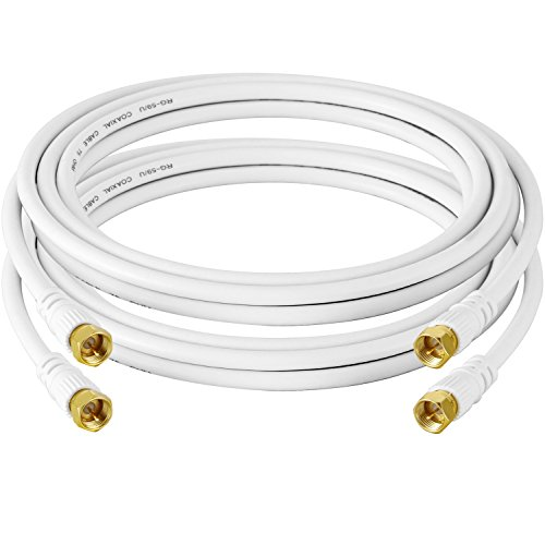 A-Best Coaxial Cable with F-Male Connectors - Ultra Series 12 Feet/3.66 Meter(2-Pack),White Color (Hdmi 12 Feet Cable compare prices)
