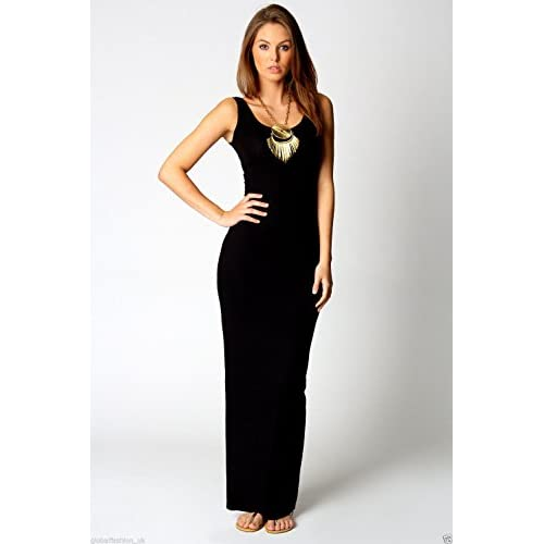 Women Ladies Vest Racer Muscle Back Jersey Long Summer Maxi Dress Plus Size 8-18