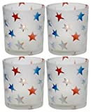 Biedermann & Sons Patriotic Frosted Glass Star Pattern Votive Candle Holder Box of 4